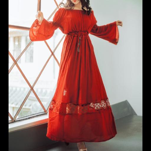 c1ff6d3f46cfd فستان طويل بتصميم غجري باللون الأحمر الغني