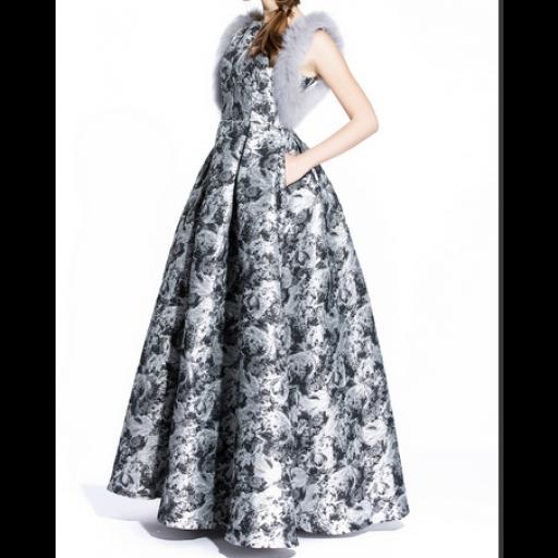 فستان فخم  بحواف فرو