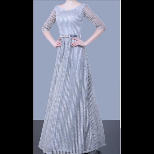 فستان  شيفون بخطوط لمعة سماوية بأكمام