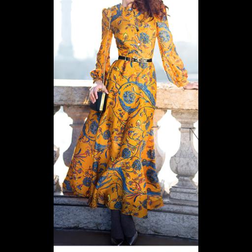 فستان برتقالي بنقوش الأزهار الزرقاء باكمام طويلة
