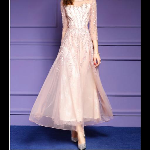 فستان تل الأغصان الوردي
