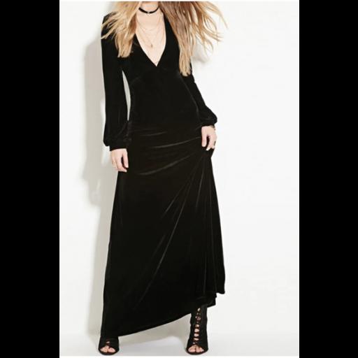 فستان المخمل الاسود الأنيق