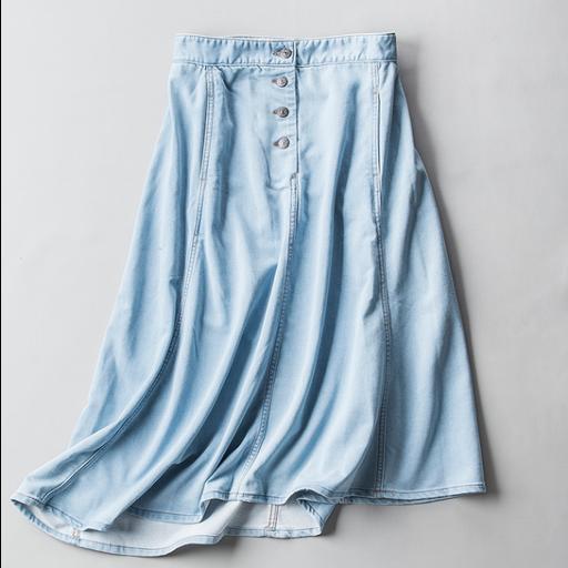 تنورة جينز ميدي سادة