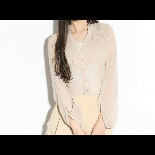 قميص شيفون الأزرة الأمامية