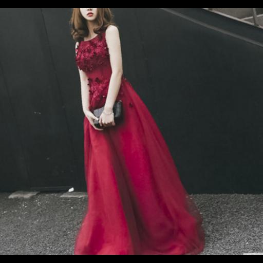 فستان  الفيونكات الصغيرة عنابي فخم مناسب للسهرات