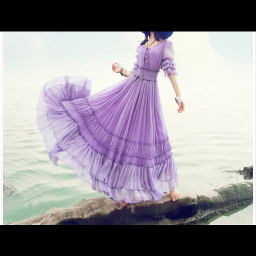 فستان  عصري موف من الشيفون بكسرات عريضة في الأطراف