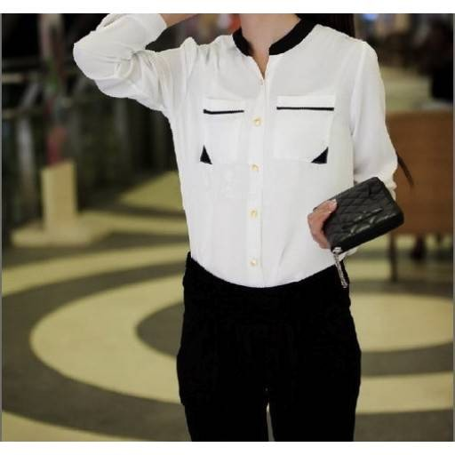 قميص الشيفون الأبيض
