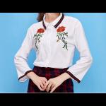 بلوزة الوردة الحمراء الرسمية بأكمام طويلة