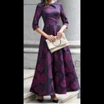 فستان الدوائر الإرجوانية العصري مناسب للحفلات الرسمية