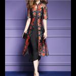 فستان شيفون الورود الحمراء بقصة صينية