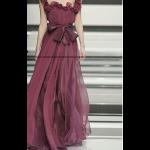 فستان شيفون الورد العنابي