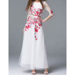 فستان تطريز الورد الفوشي الفخم