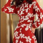 فستان الورود الاحمر