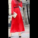 فستان خطوط الدانتيل السوداء بأكمام طويلة مناسب للمناسبات الرسمبة