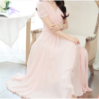 فستان  شيفون الكسرات الأمامية