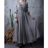 فستان  الورود الرمادي الواسع