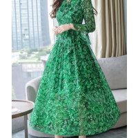 فستان الشيفون اخضر ابيض
