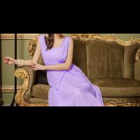 فستان شيفون الزم الخلفي