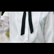 قميص ابيض نسائي شيفون بشريط الفيونكة وقصة رسمية