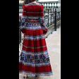 فستان عنابي منقوش