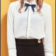 قميص ابيض رسمي شيفون نسائي بفيونكة سوداء