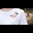 بلوزة الورود الوردية المزينة باللآلئ