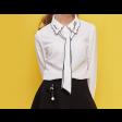 قميص ابيض للبنات بياقة متموجة وربطة عنق محددة