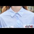 قميص مخطط ازرق بتطريز الأزهار الملونة