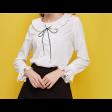 قميص ابيض ساده شيفون بياقة متموجة