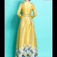 فستان أطراف الورود الساتر بتخطيط كحلي في منطقة الخصر