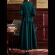فستان زيتي طويل بتطريز الأكمام بأزرة أمامية