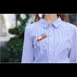 قميص قطن مخطط ازرق بالرسمة الصغيرة