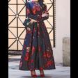 فستان كحلي مشجر ساتر كلوش بأكمام طويلة