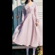 فستان تطريز الياقة الوردي