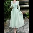 فستان شيفون ميدي تفاحي الناعم بتصميم كلاسيك راقي