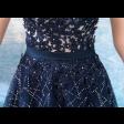 فستان التل الكحلي بلورود والكرستال