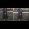 فستان كحلي بأكمام طوبلة