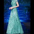 فستان الترتر الفيروزي مناسب للسهرات أنيق وفخم
