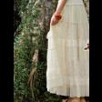 تنورة دانتيل طبقات الكلف ابيض طويلة