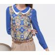قميص شيفون باكمام طويلة أزرق