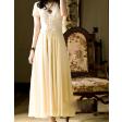 فستان الشيفون و الدانتيل الأصفر الفاتح