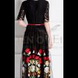 فستان تل أسود تطريز الورد